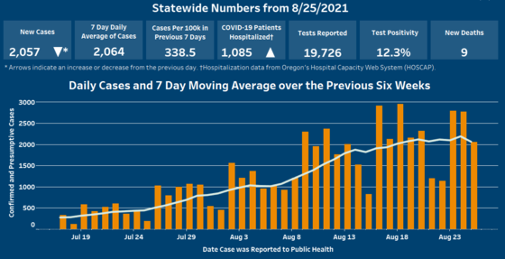 Blue and orange bar graph depicting COVID-19 data for Aug. 26