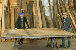 Chris Bell and Bruce Wadleigh work on door