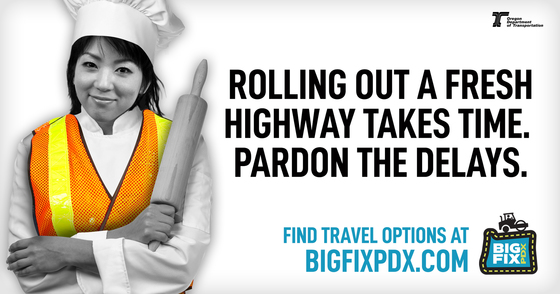 Rolling out a fresh highway takes time. Pardon the delays. Image of a baker holding a rolling pin.