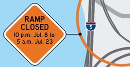 The I-5 SB to I-84 EB ramp will be closed. The email body has more information.