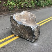 Rock falls on Historic Highway.