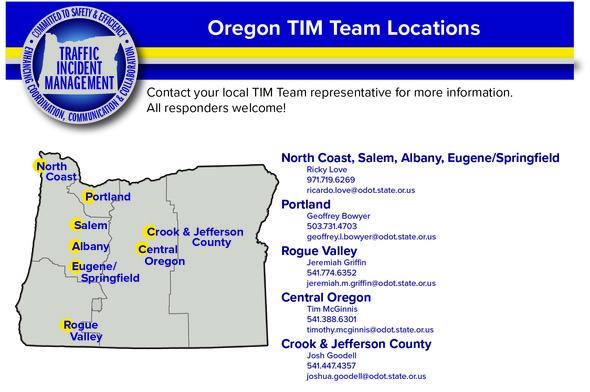 Oregon TIM Teams Map Location