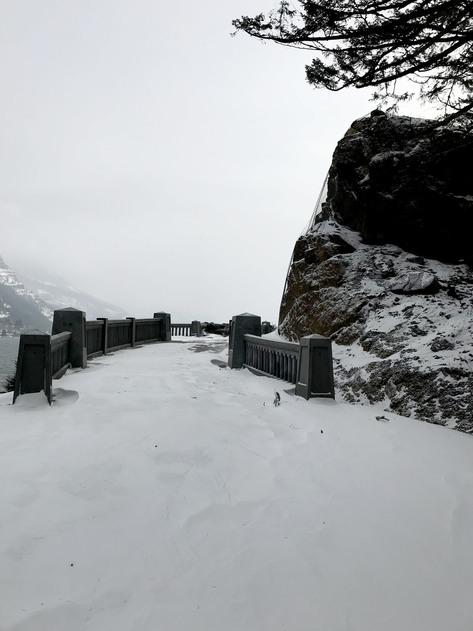 Lindsey Creek Cut Bridge in snow.