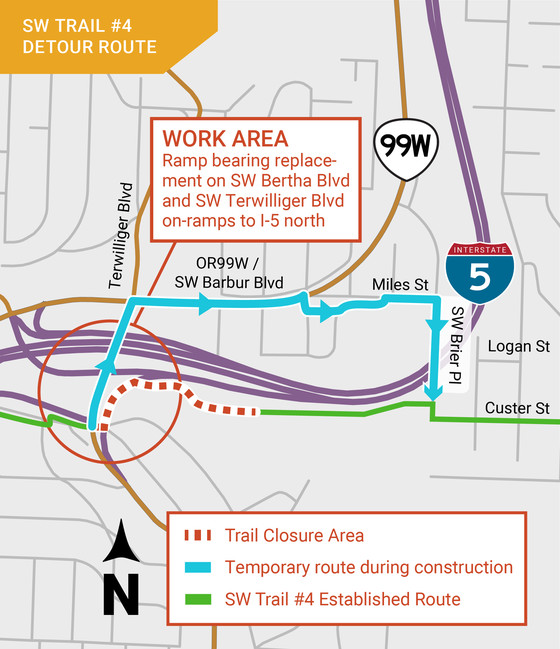 Map of detour for SW Trail 4.