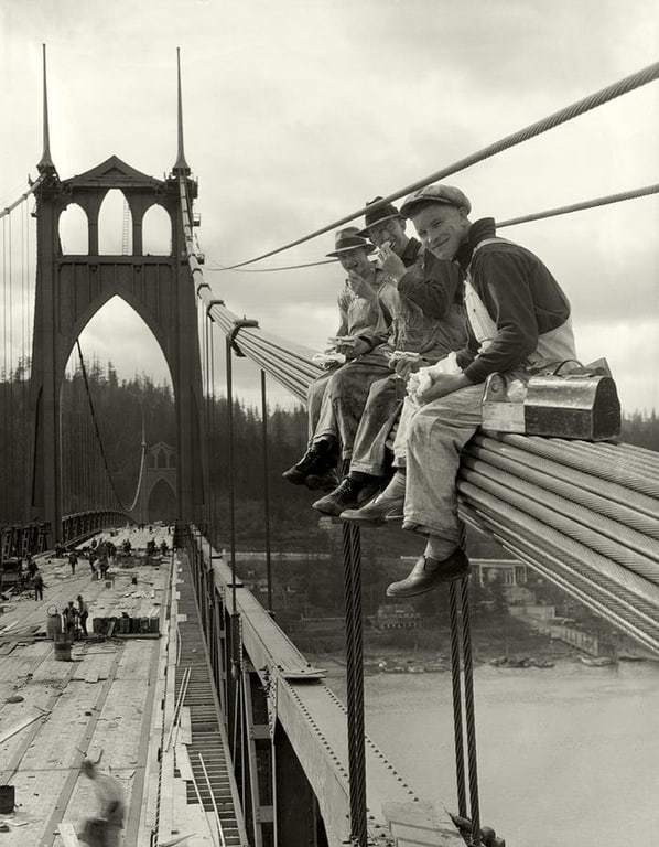 Historical photograph of St. Johns Bridge construction in the 1930s.