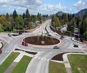 Roundabout in Springfield from aerial view