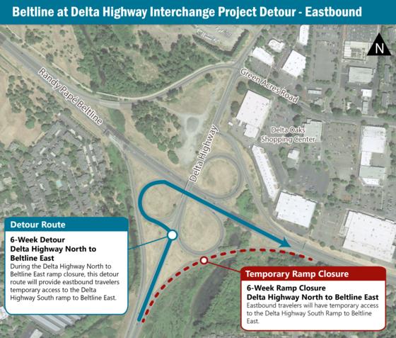 Map of Beltline at Delta Highway  temporary detour in Eugene