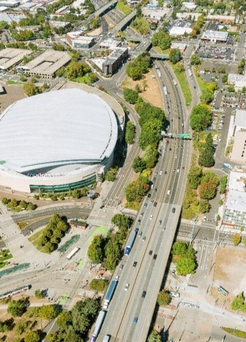 View of I-5 and Moda Center from above