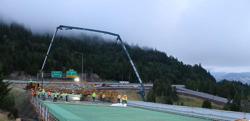 ODOT construction crews repair a large bridge deck.