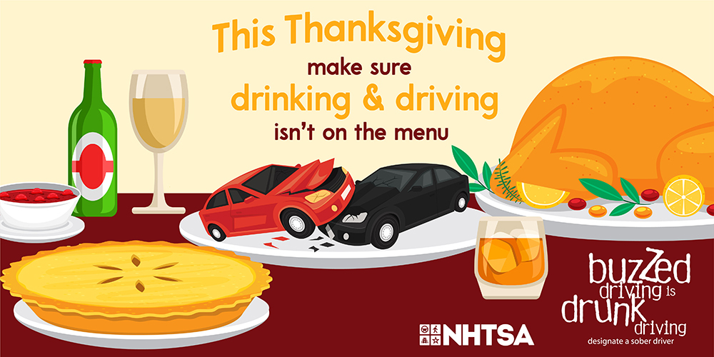 This Thanksgiving make sure drinking and driving isn't on the menu. Buzzed driving is drunk driving.
