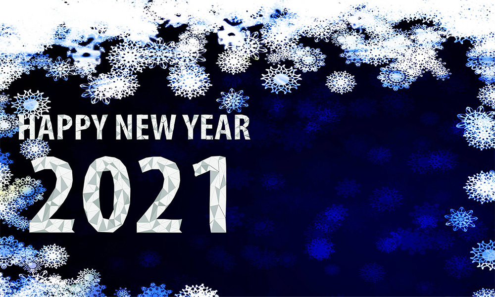 """""""Happy New Year 2021"""" blue background with white snow"""