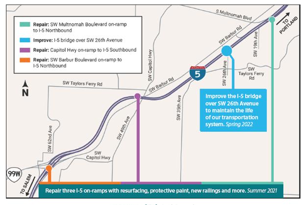I-5 Bridge On-ramp Project Area Map