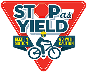 Bicyclist: Stop as yield. Keep in motion. Go with caution.