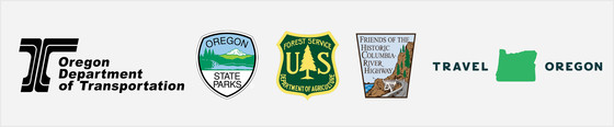 ODOT, OPRD, USFS, Friends of the Historic Highway and Travel Oregon logos