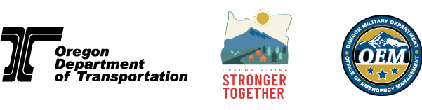 Logos for ODOT, Wildfire Recovery, and OEM
