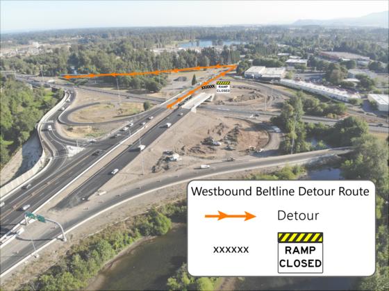 Beltline Delta Interchange map showing detour route from Delta Highway