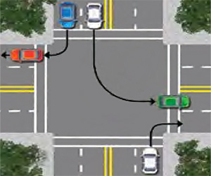 Diagram of vehicles turning into the nearest lane from various directions