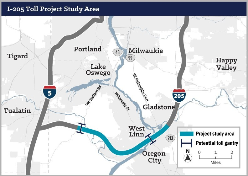 If the toll alternative is selected, potential toll gantries would charge tolls at two locations:  the Abernethy Bridge and the Tualatin River Bridge.