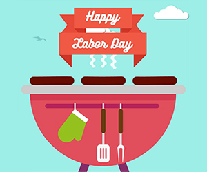 Text: Happy Labor Day. Image: warm grill with utensils.