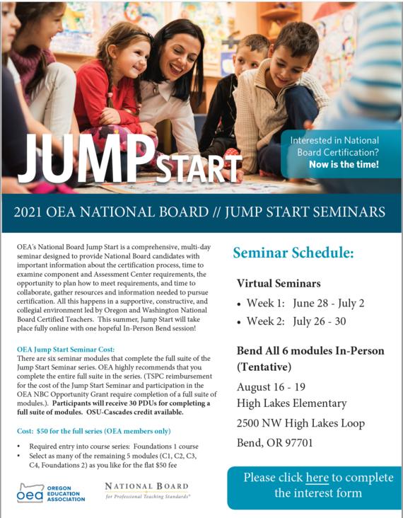 Image of Flyer for OEA's JumpStart National Board Certification program