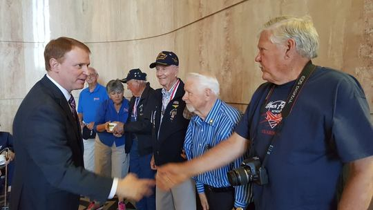 Shaking hands with vets