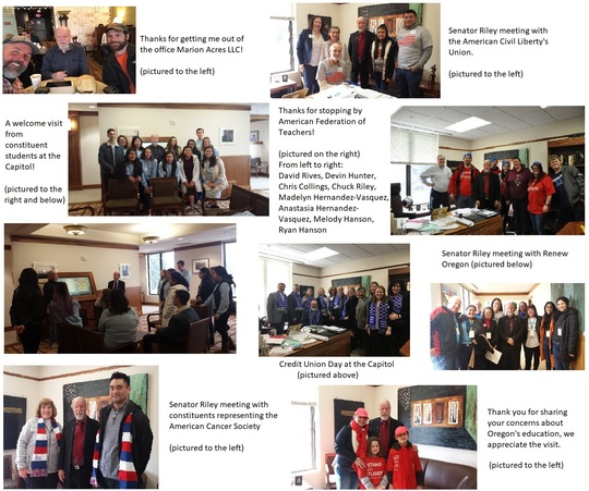 Images of Senator Riley with constituents. Thank you all for sharing your concerns with Senator Riley and caring about our State.
