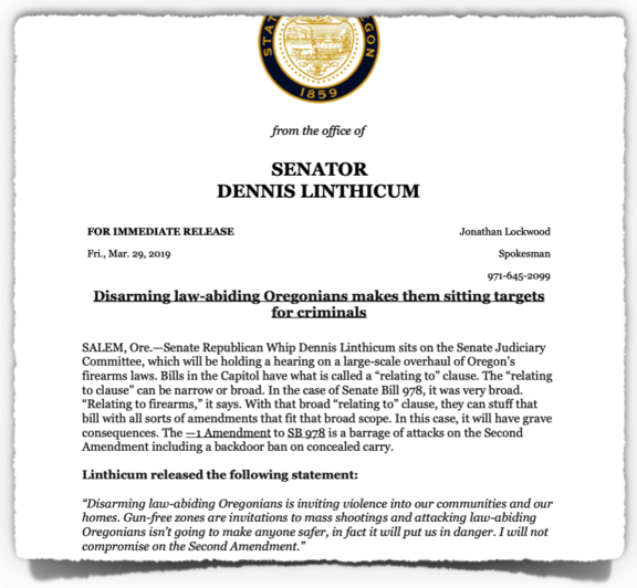 Linthicum Opposes SB 978-1