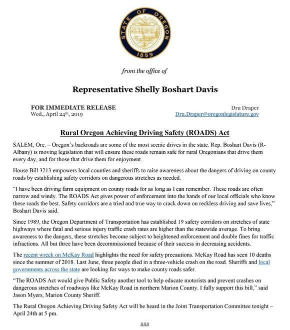 ROADS Act | Earth & Arbor Day | Bipartisan Legislation