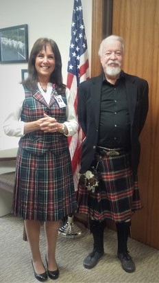 Senator Riley and his Tartan cousin in the office
