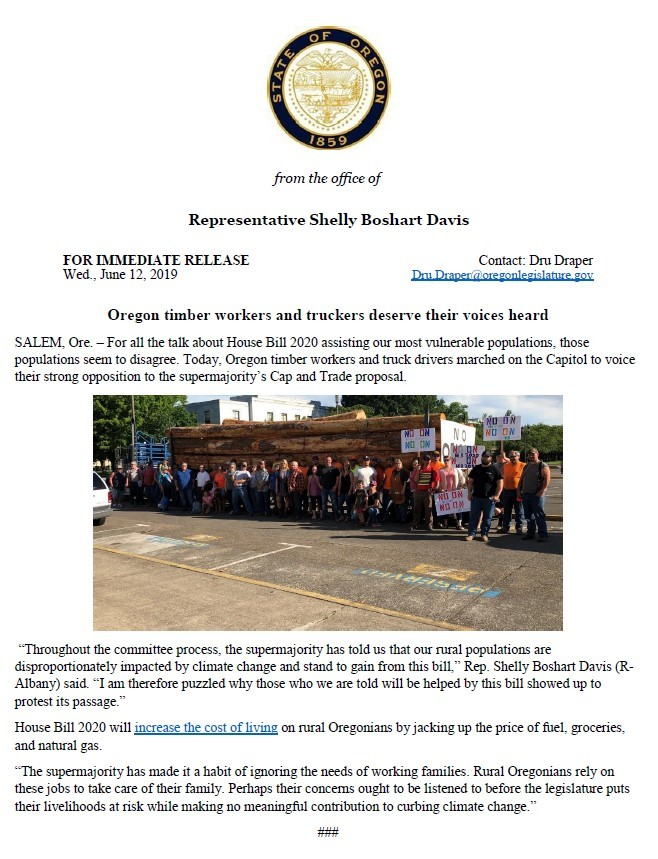 Oregon timber workers and truckers deserve to be heard