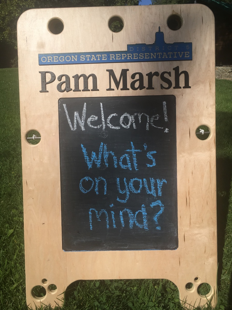 Rep Marsh sandwich board, handcrafted at Talent Maker City
