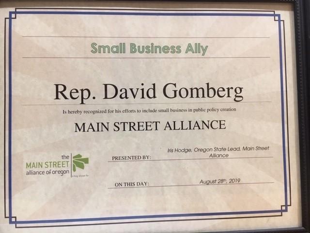 Main Street Alliance certificate