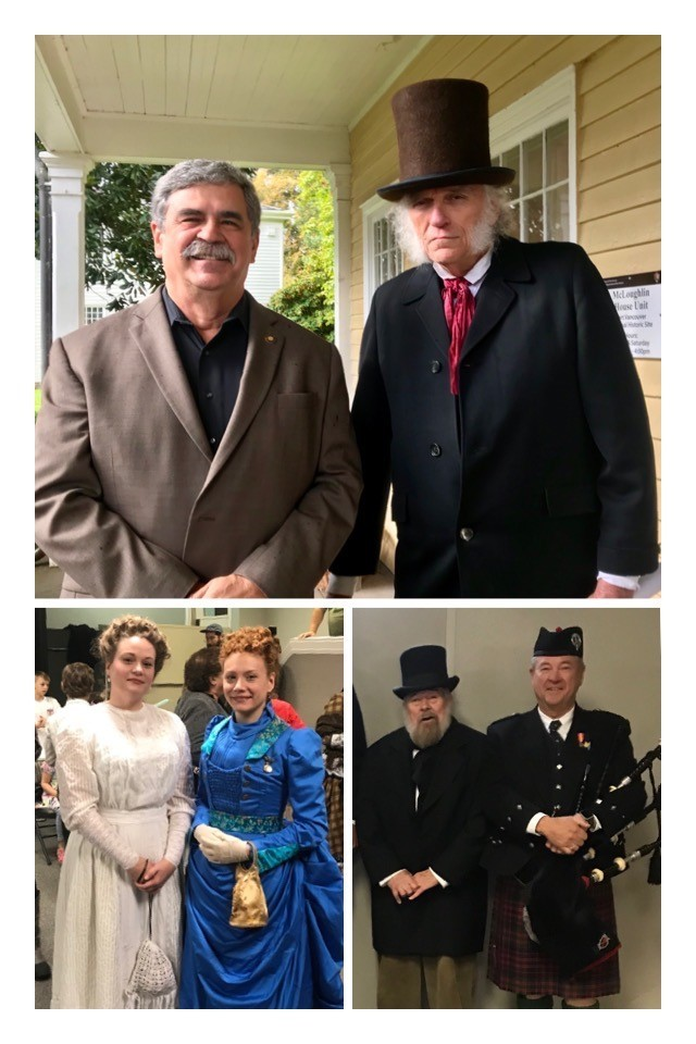 Photo of Rep. Lewis, John McLoughin and men and women dressed in period attire