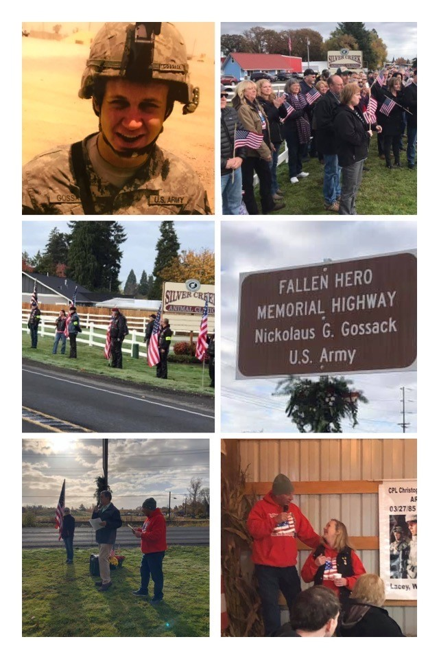 Nick Gossack sign dedication photo collage