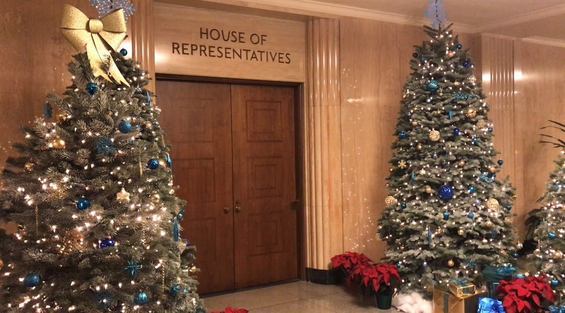 Holiday Trees in front of the Oregon House of Representatives