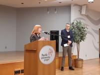 McLain speaking at Pacific Uni