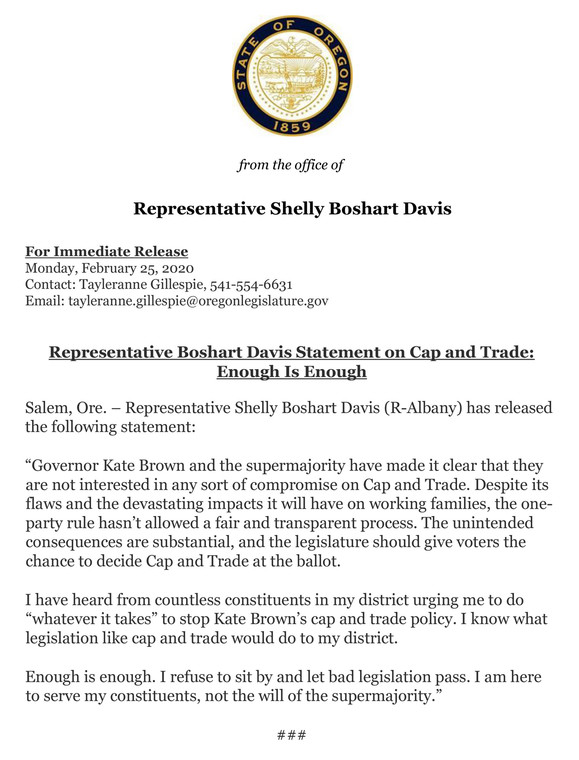 Rep Boshart Davis on Cap and Trade