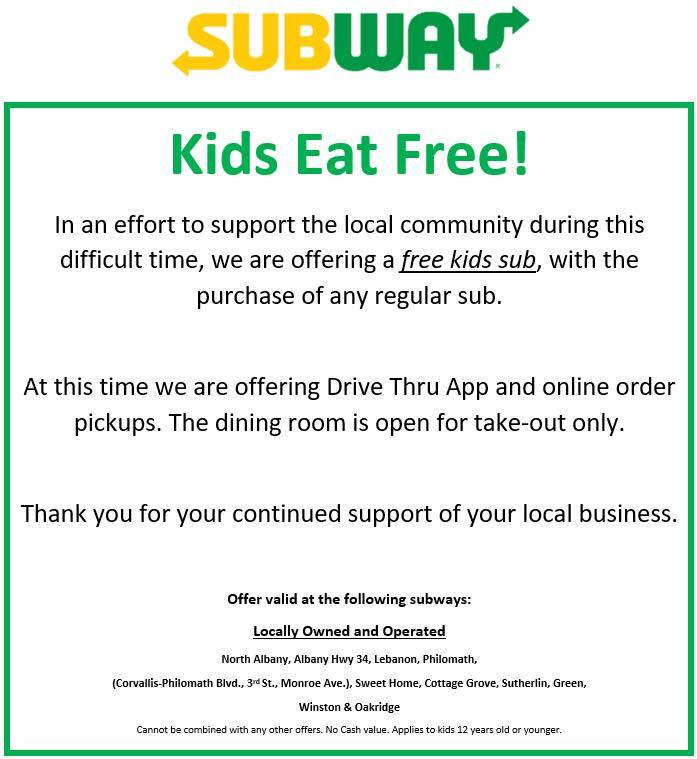 Subway Kids Eat Free
