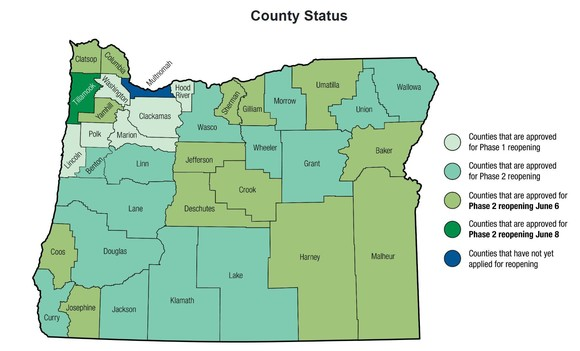 County Reopening map