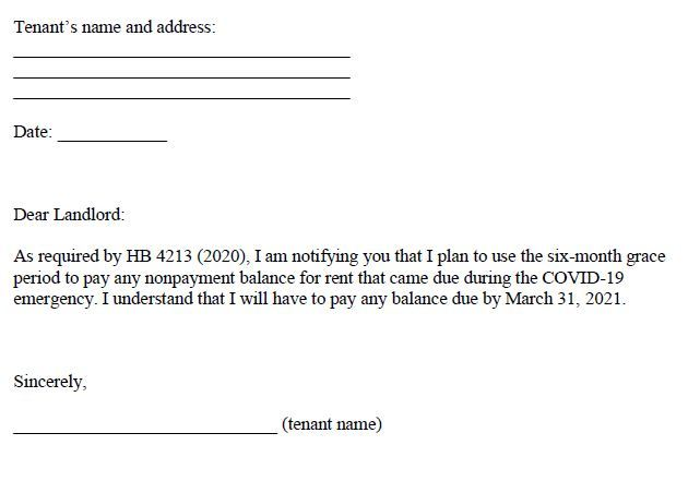 Tenant Letter to Landlord