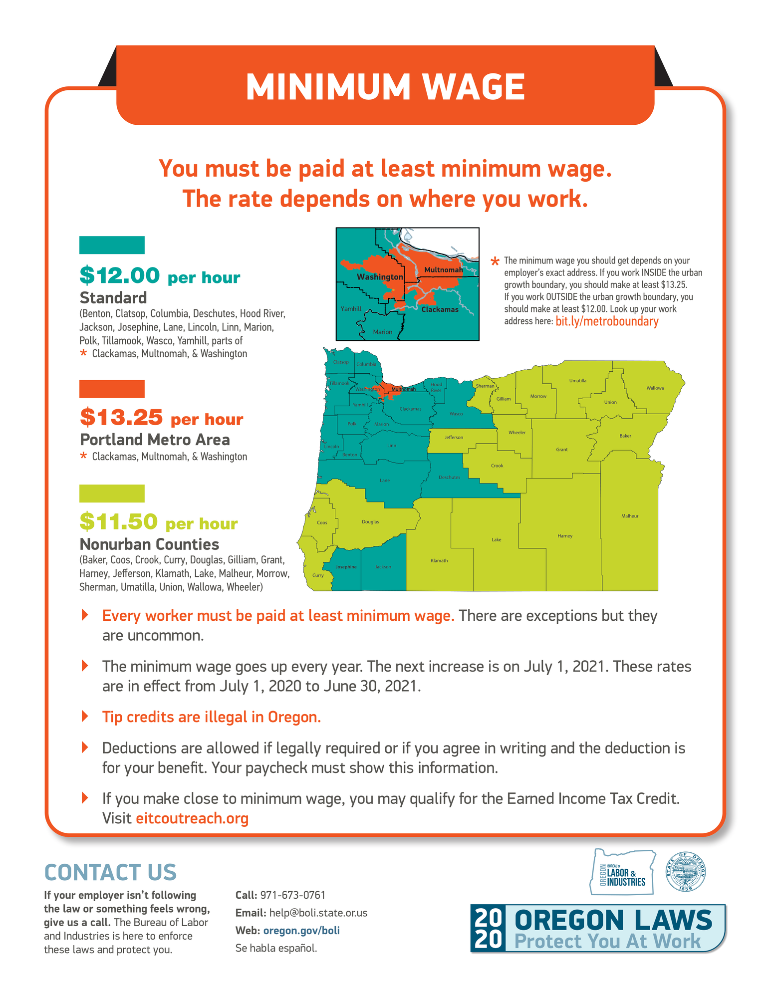BOLI wage map