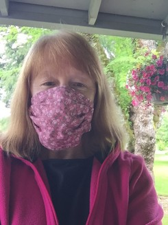 Susan in Mask on Porch