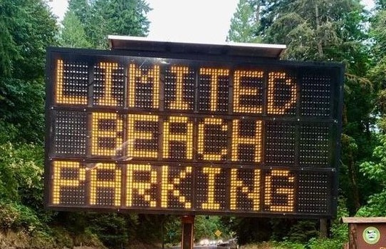 ODOT limited beach parking sign