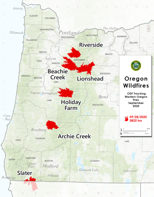 9/28 Wildfire Map