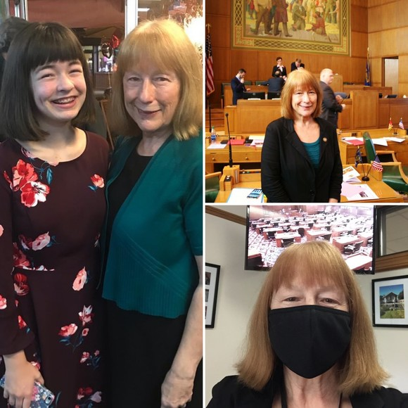 Rep McLain: with granddaughter (pre-covid), wearing mask at Special Session, and in the house chamber (pre-covid)