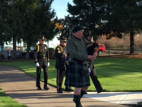 Veteran's Day Celebration 2019, Veteran playing the bagpipes, and honor guard