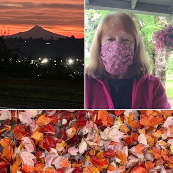 Sunrise view of Mt. Hood, fall leaves, and Rep McLain in mask