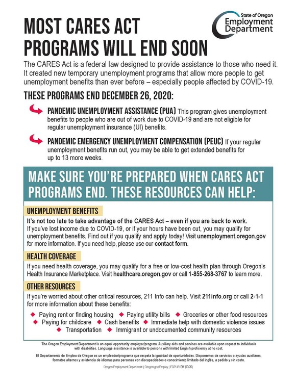 Graphic-CARES Act Employment Benefits End in December