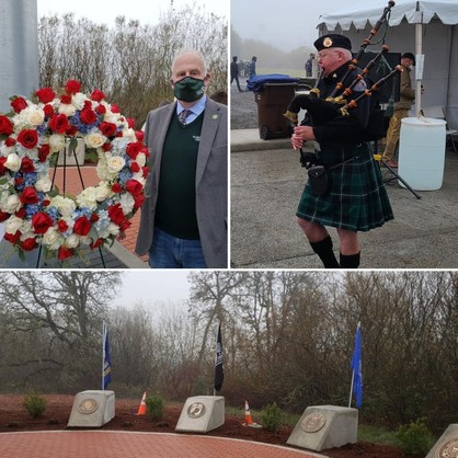 Photos of The North Plains Veterans memorial, and Mayor Truax at the celebration