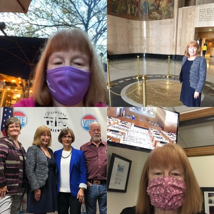 Assorted photos of Rep McLain and other electeds, without masks (pre-COVID) and with masks recently